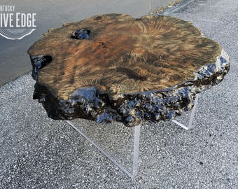 Contemporary Coffee Table- Modern Coffee Table- Lucite- Acrylic- Floating Coffee Table- Round Coffee Table- Live Edge Slab- Maple Burl