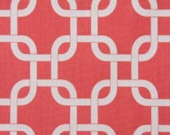 Handmade Window Curtain Valance, 50W x 15L in Coral/White Geometric Print, Housewares, Ready To Ship