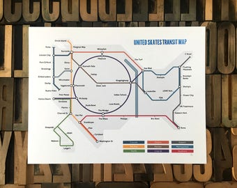 Skateboard Subway Map - Hybrid Letterpress Print
