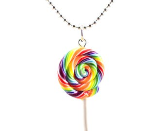 Scented Rainbow Lollipop Necklace  Food Jewelry