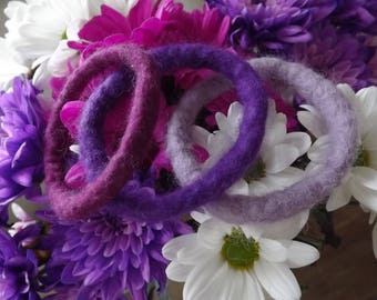 Set of Pretty Three Hand Felted Bangles made from natural wool inspired by a bouquet of flowers