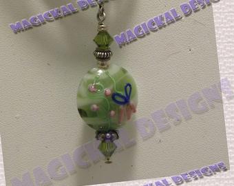 Green, Flower, Pendant, on multi strand Ribbon, necklace, lamp-worked glass, crystal, stocking stuffer, teacher gift, under 10 dollars