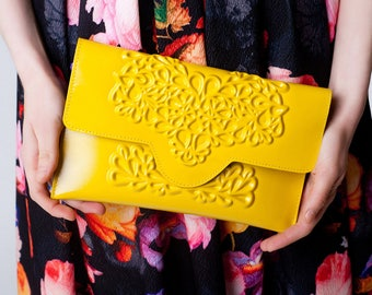 Yellow clutch bag / bright clutch purse / evening handbag / envelope shaped clutch / standout design / stylish yet ethical / MeDusa bags