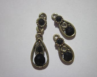 3 metal charms and cabochons (Y36) black color