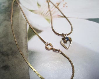 Vintage 14 GF heart with blue stone necklace