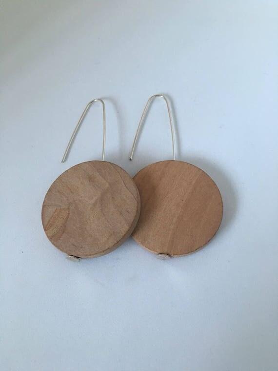 Sterling silver wooden earrings