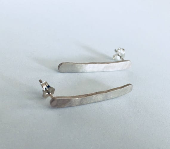 Hand-forged recycled sterling silver earrings