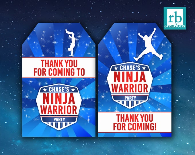 Ninja Warrior Party Favor Tags, Ninja Warrior Birthday, Ninja Warrior Printables, Favor Tags - Digital Printables