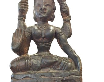 Antique Handcarved Old Indian Goddess Sculpture, Statue,Yoga Studio Decor