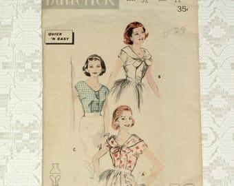 DOG DAYS Vintage 1958 Misses Cap Sleeve Blouse Pattern sz12