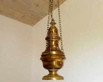Antique incense burner processional encensoir ancien incense holder catholic orthodox church religious home decor brass incense burner