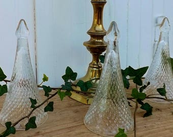 3 champagne tasting flutes French wine tasting cups Henri Maire glassware glass bells wedding decoration French home decor