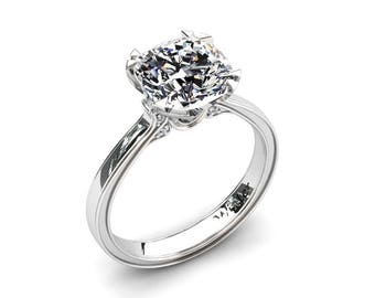 Moissanite Ring Cushion Cut Forever One Moissanite Engagement Ring In 14k or 18k White Gold. Matching Wedding Band Available W26SMOISW