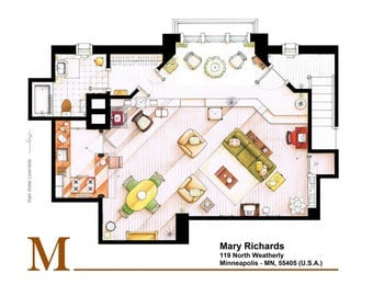 Floorplan of Mary Richard's apartment from The MARY TYLER MOORE Show