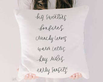 Throw Pillow - Big Sweaters, calligraphy, home decor, fall decor, housewarming gift, cushion cover, throw pillow, seasonal pillow