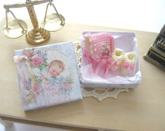 dollhouse bonnet booties knitted 1:12 scale miniature clothes for baby doll ooak