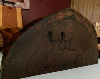 Large cross cut cutting board, black walnut with buck and doe