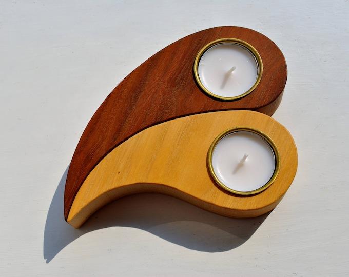 Kanevad Sweden Wood Candle Holder Set Walnut and Ash 1962 Scandinavian Modern