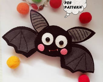 PDF Pattern - Bat Felt Pattern, Felt Ornament Pattern,Softie Sewing Pattern, Felt Toy Pdf, Halloween Ornament Pattern,Felt Bat Halloween