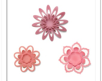 3D Pop out petals decorative flowers, cutting files templates in SVG, STUDIO, PDF formats