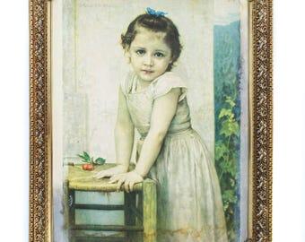 """Vintage Early Art Print of """"Yvonne"""" by W. BOVGVEREAV 1896 Girl with Cherries RARE Framed"""