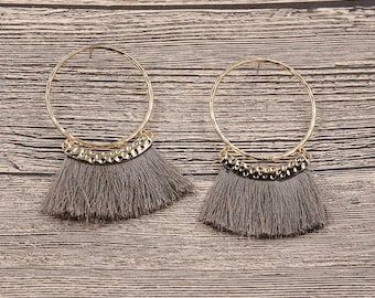 Large taupe fringe earrings