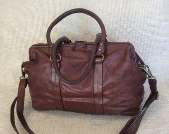 HUGE 20% SALE Genuine vintage brown oversized satchel bag purse carry on