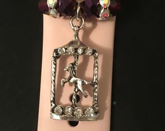 Apple Watch Charm/ Slide on Jewelry/ Accessory/ Rhinestone Encrusted Carousel Merry-go-round