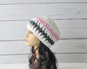 Chunky Off White Pink Gray Teen and Ladies Winter Beret Hand Crocheted Warm Hat