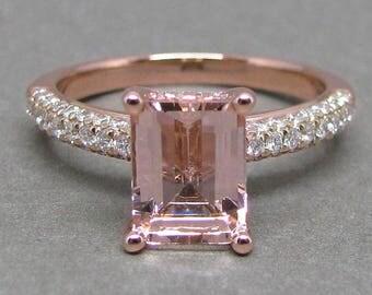 Emerald Morganite Engagement Ring Pave Three Row Diamond 14k Rose Gold Wedding Bridal Ring 8X6mm