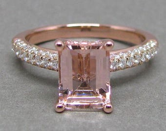 Emerald Morganite Engagement Ring Pave Three Row Diamond 14k Rose Gold Wedding Bridal Ring 9x7mm