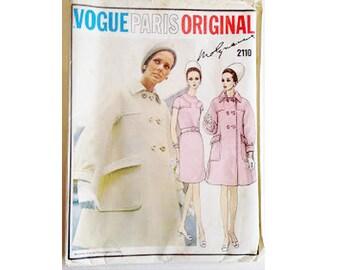 """UNCUT Vintage 60's 70's Vogue Paris Original #2110 Molyneux Designer A Line Dress and Coat Sewing Pattern Size UK 12 Bust 34"""""""
