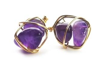 CHIBI stud earrings // Grade A amethyst stud earrings // Gold filled stud earrings / Gift for her