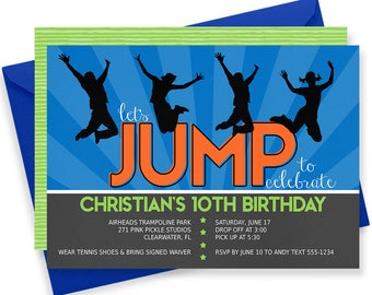 Trampoline Invitation, Trampoline Party Invitation, Trampoline Birthday Invitations, Trampoline Party, Trampoline Invite Jump Invitation 271