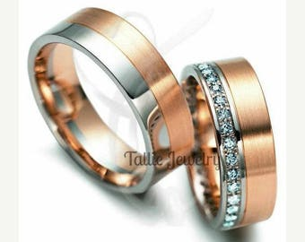 Custom Made for Malinga Only Mens Ring,10K Two Tone Gold 6.5mm Wedding Band without diamonds