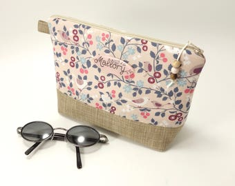 Personalized zipper make up bag, beige & pink / Froufrou french fabric, birds and leaves print / Plate with name in option / Waterproof