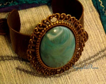 Vintage Turquoise Color Bracelet Hippie Cuff Ready to Ship for FREE in Continental United States