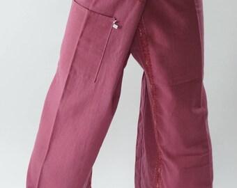F80068 Hand stitch Unisex Thai fisherman pants, stitch Inseam design for Thai Fisherman Pants Wide Leg pants, Wrap pants