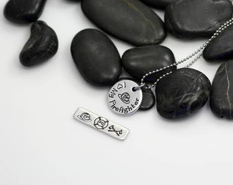 I Love My Firefighter Hand Stamped | Custom | Necklace