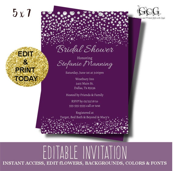 Bridal Shower Invitation Instant Download Purple Bridal Shower - Purple bridal shower invitations templates