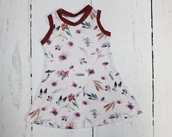 Lilac Watercolor Tank Dress, Girls Knit Dress, Summer Dress, Play Dress