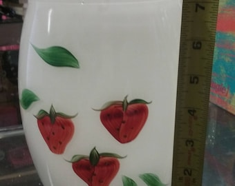 1950 Large Collins & Bartlett Hand Painted Strawberry Canister No Lid No Chips