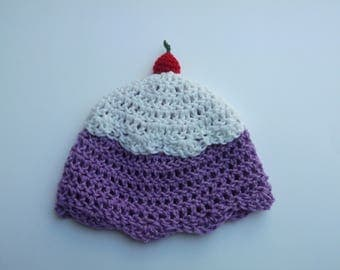 Grape Sorbet Kids Winter Hat Crochet Beanie With a Cherry on Top