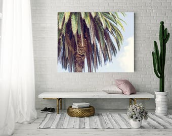 Palm tree canvas gallery wrap, palm tree decor, canvas gallery wrap, california photography, large wall art, beach photography, los angeles
