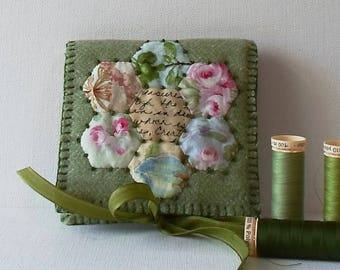 Handmade Felted Wool EPP Cotton Grandmothers Flower Garden Needle Book