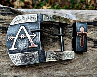 Mens Belt Buckle, Custom, Western Belt Buckle, Ranger Buckle, Personalized, Engraved, Segmented, Cattle Brand, Silversmith , Made to Order,
