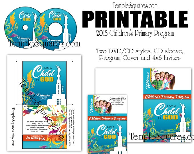 Printable CD labels for 2018 Children's Primary Program Songs, label, envelope, Program Cover, 4x6 invitations and Black and White Program