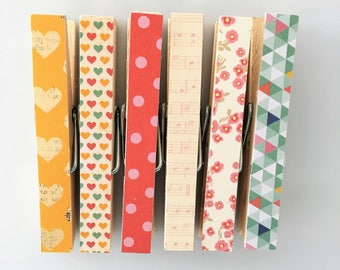 Modern geometric mix fridge magnets clothespins shabby chic pegs