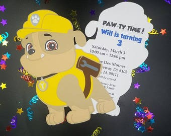 Paw Patrol Invitations, Paw Patrol Birthday Invitation. Paw Patrol party, Rubble Birthday Invitation, Boy Paw Patrol, Rubble Paw Patrol