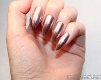 Stiletto nails, Rose gold stiletto nails, Fake nails, Press on nails, False nails, Stiletto false nails, Press on stiletto nails